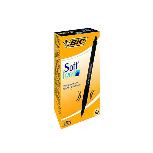 Bic SoftFeel Clic Retractable Ballpoint Pen Black (12 Pack) 837397