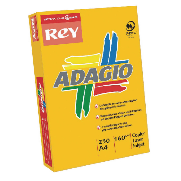 Adagio Intense Orange A4 Coloured Card 160gsm (250 Pack) 201.1224