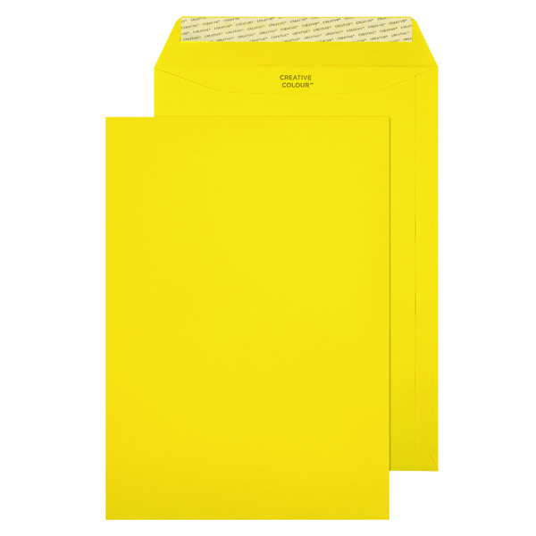C4 Pocket Envelope Peel and Seal 120gsm Banana Yellow (250 Pack) 403P
