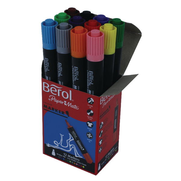 Berol Assorted Colourmarker Pens Boxed (12 Pack) S0376770