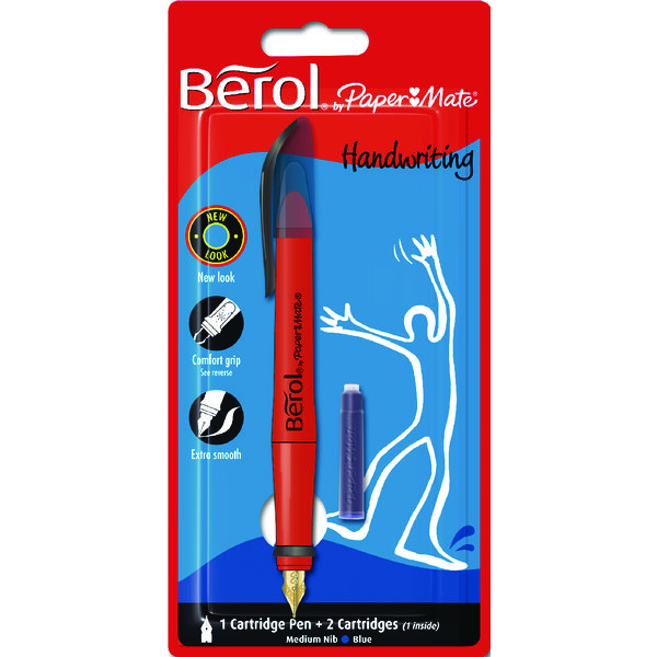 Berol Blue Handwriting Cartridge Pen Blister Pack with 2 Cartridges (1 Pack) S0953460