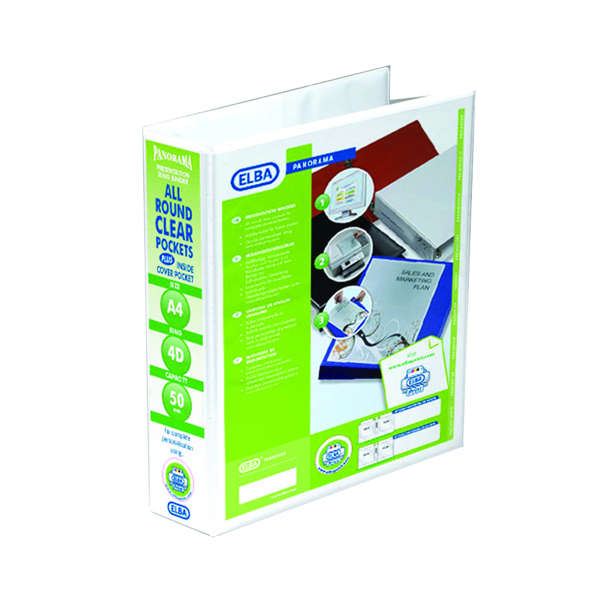 Elba Panorama White A4 Plus 50mm 4 D-Ring Presentation Binder (10 Pack) 400001309