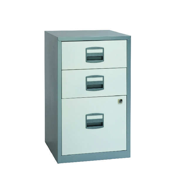 Bisley Silver and A4 White 3 Drawer Home Filer BY00587