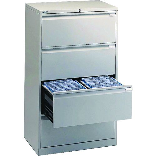 Bisley Side Filing Cabinet 4 Drawer Goose Grey (Pack of 1) BY01242