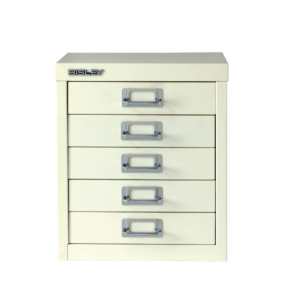 Bisley Multi-Drawer Cabinet A4 5 Drawer Chalk White BY20151