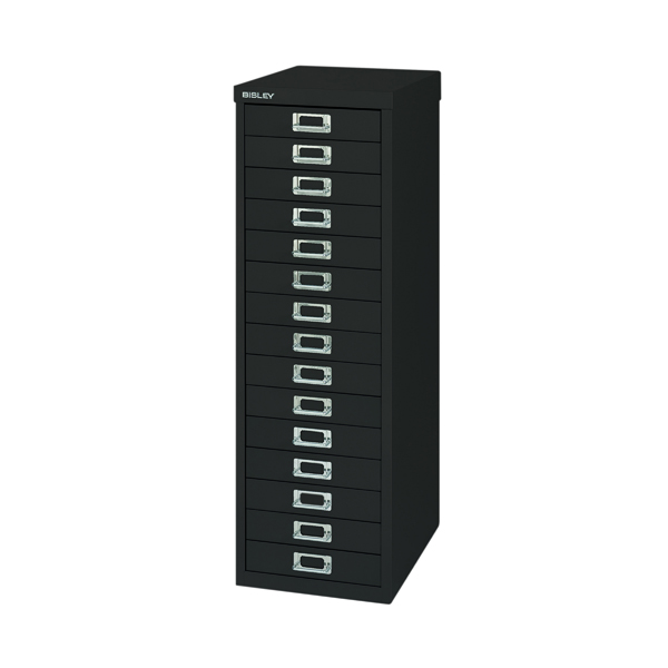 Bisley 15 Drawer Black Non-Locking Multi-Drawer Cabinet BY39950