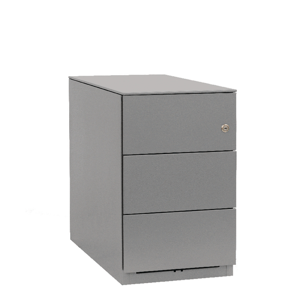 Bisley Mobile 3 Stationery Drawers Goose Grey Note Pedestal BY42027