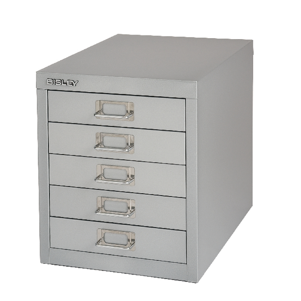 Bisley 5 Drawer Grey Non-Locking Multi-Drawer Cabinet BY42267