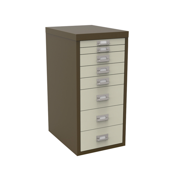 Bisley 8 Drawer Coffee Cream Non-Locking Multi-Drawer Cabinet BY48268