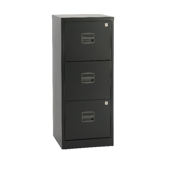 Bisley 3 Drawer Black A4 Personal Filing Cabinet BY48279