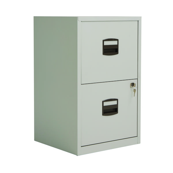 Bisley 2 Drawer Lockable Grey A4 Personal Filing Cabinet BY57825