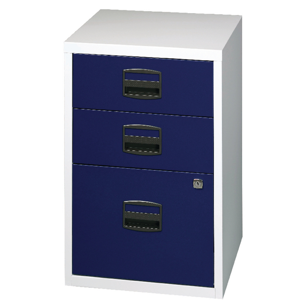 Bisley A4 Home Filer 3 Drawer Lockable Grey and Blue BY59072