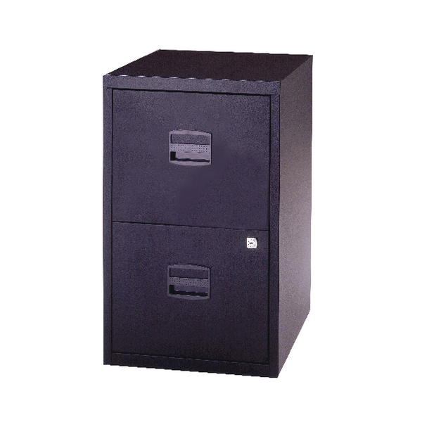Bisley 2 Drawer Lockable Black A4 Personal Filing Cabinet BY59448