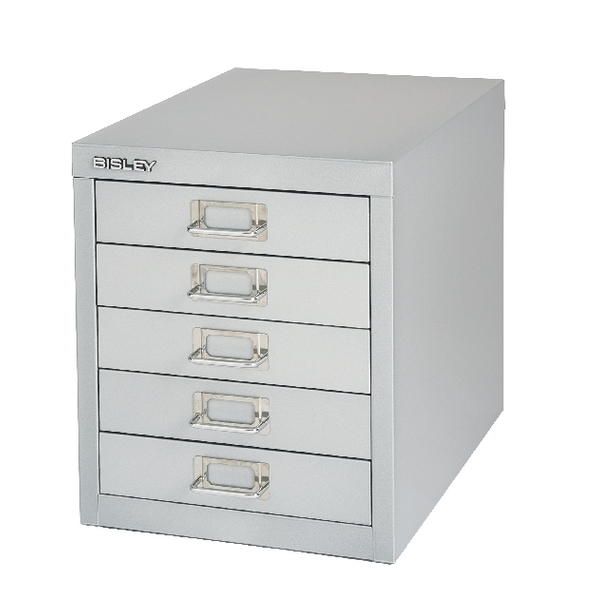Bisley 5 Drawer Silver Non-Locking Multi-Drawer Cabinet BY91779