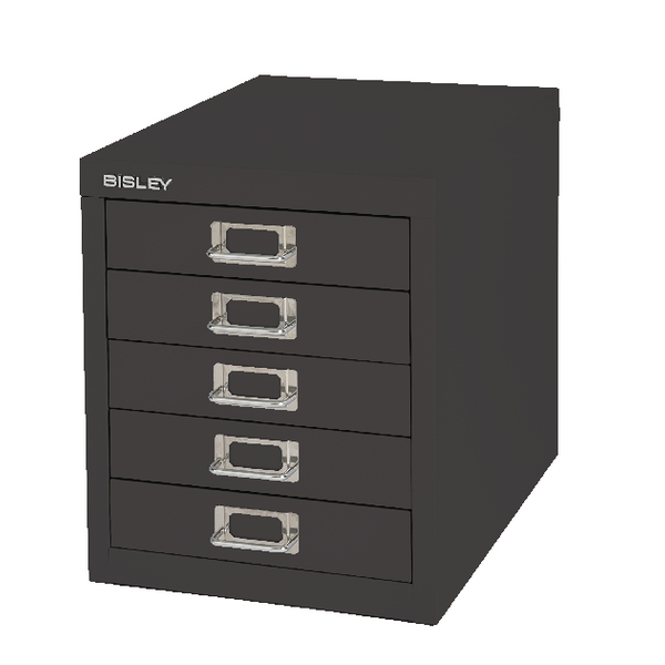 Bisley 5 Drawer Black Non-Locking Multi-Drawer Cabinet BY99622