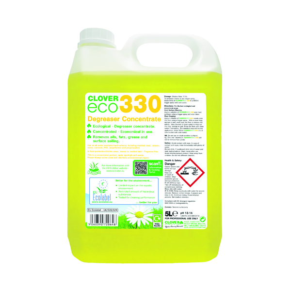 Clover ECO 330 Degreaser Concentrate 5 Litre (2 Pack) 330