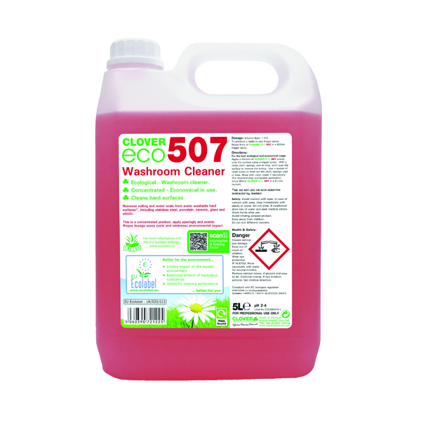 Clover ECO 507 Washroom Cleaner 5 Litre (2 Pack) 507