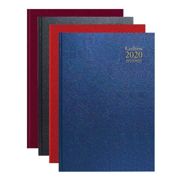 Collins Desk Diary A4 Day Per Page Appointments 2020 Assorted A44