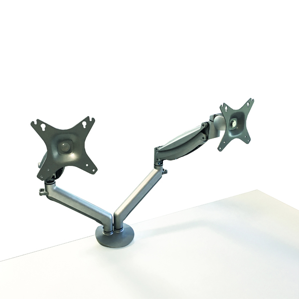 Contour Ergonomics Easy Move Double Monitor Arm Silver CE77693