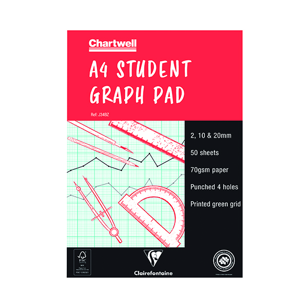 Chartwell 2/10/20mm Graph Pad A4 50 Leaf J34B