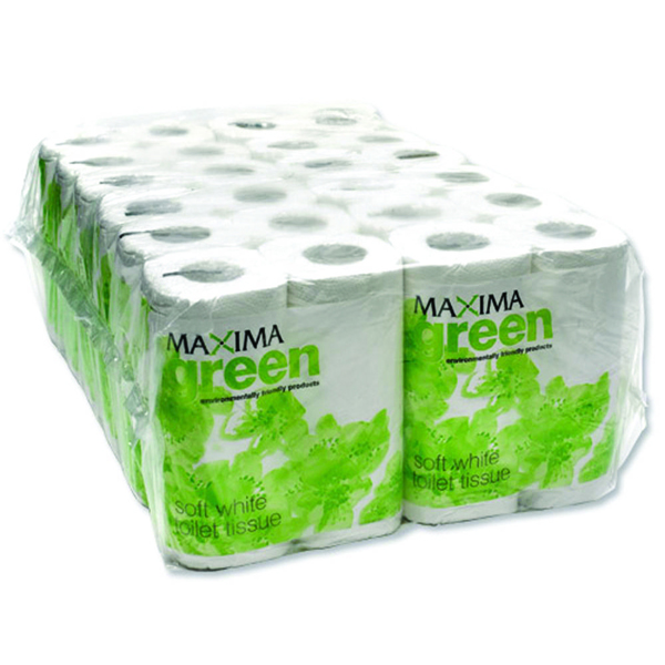 Maxima Green 2 Ply White Toilet Roll 200 Sheet (48 Pack)