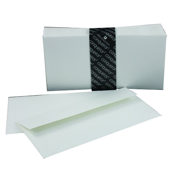 Conqueror Laid 110x220mm High White DL Wallet Envelope (500 Pack) CDE1440HW