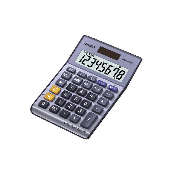Casio Silver 8-Digit Currency Calculator MS-80VERII