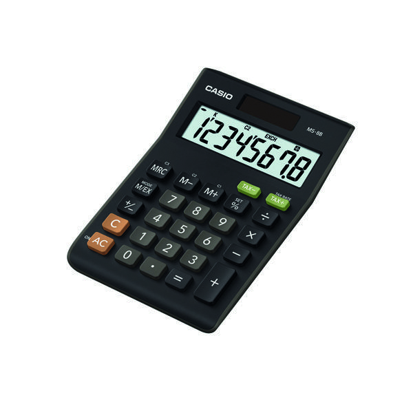 Casio Black 8-Digit Tax and Currency Calculator MS-8B