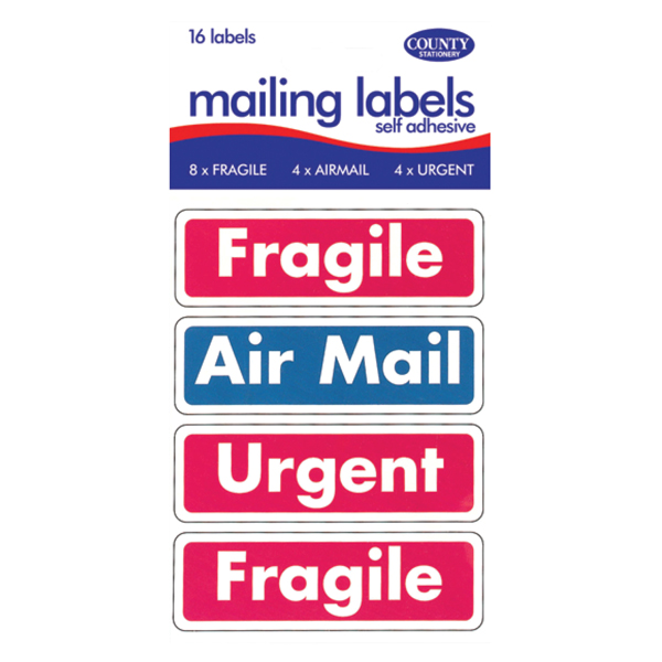 County Mail Labels Fragile/Airmail/Urgent (12 packs of 16) C162
