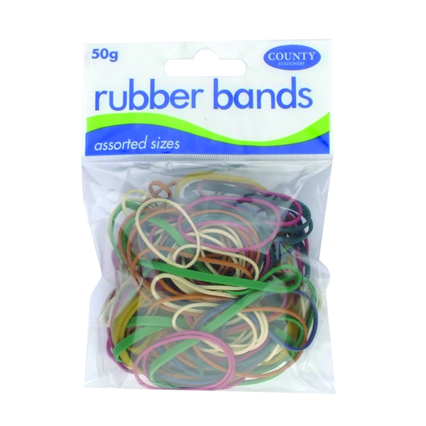 County Rubber Bands Coloured 50gm (12 Pack) C225