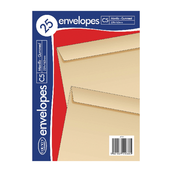 C5 Manilla Gummed Envelopes 25 (20 Pack) C510