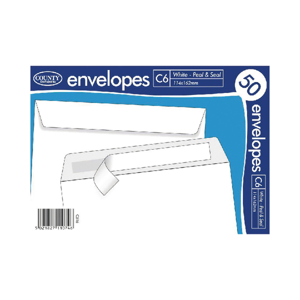 C6 White Self Seal Envelopes 50s (20 Pack) C515