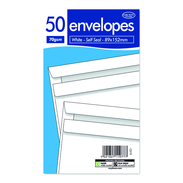 White Self Seal Envelopes 89 x 152mm 50 (20 Pack) C519