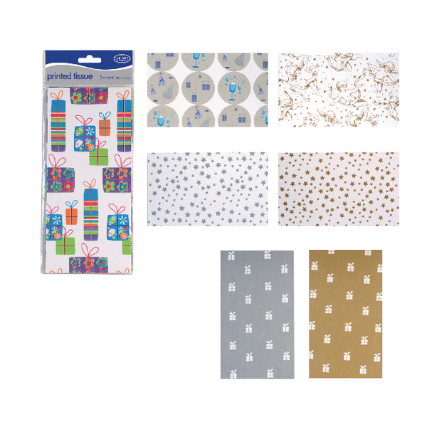 Printed Tissue Assorted Designs (12 Pack) C195