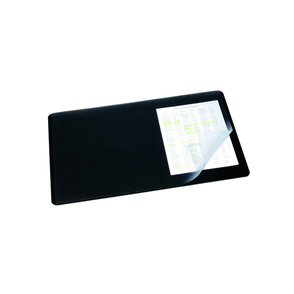 Durable Black Desk Mat With Transparent Overlay 400x530mm 7202/01