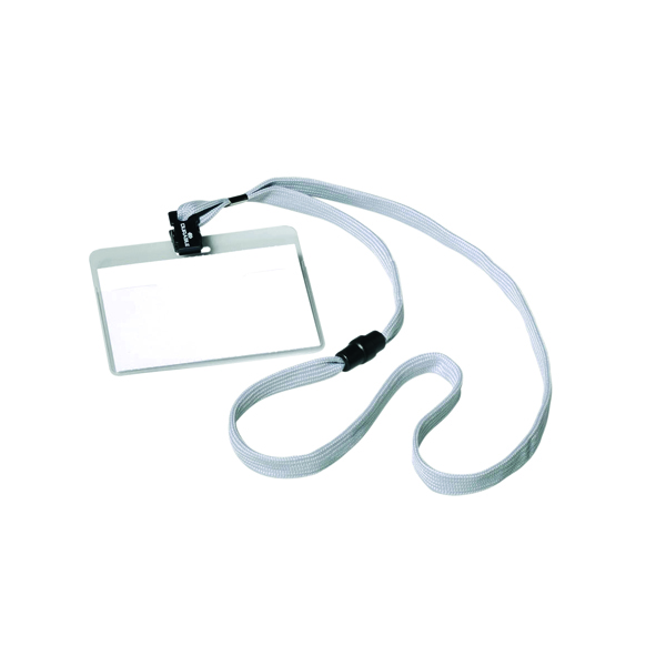 Durable Name Badge 60x90mm With Textile Necklace (10 Pack) 8139/10
