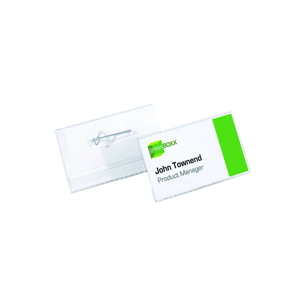Durable Clear Name Badge With Pin 40x75mm (100 Pack) 8008
