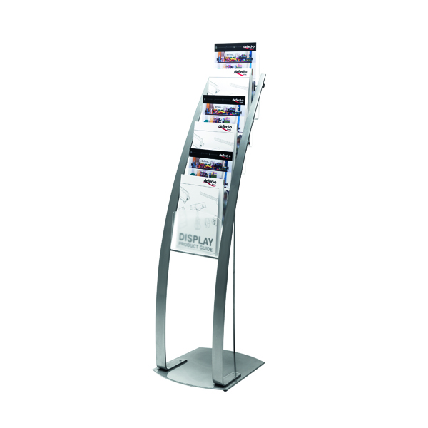 Deflecto Silver Six Pocket Literature Floor Stand DE693145