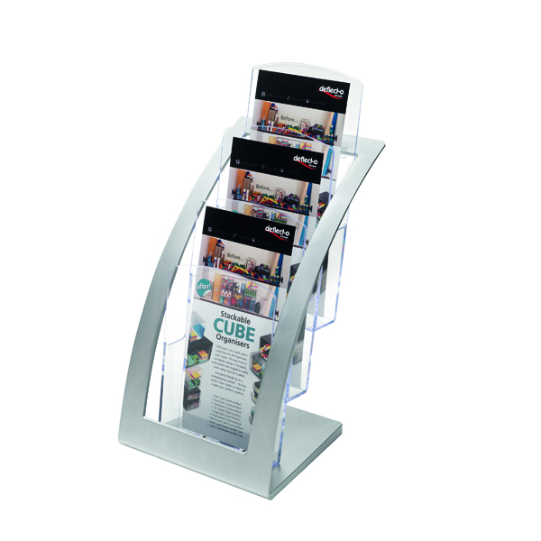Deflecto Contemporary Counter Top Stand Silver 693745