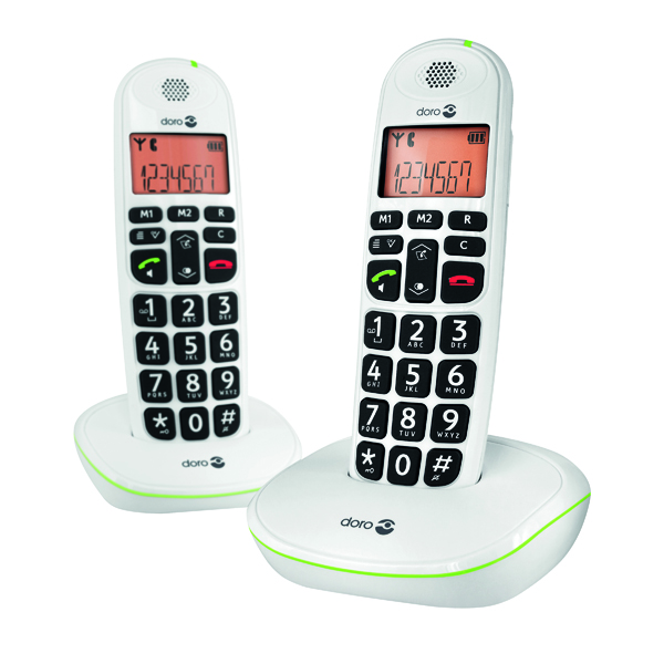 Doro DECT White Big Button Cordless Phone (2 Pack) PHONEEASY 100W D