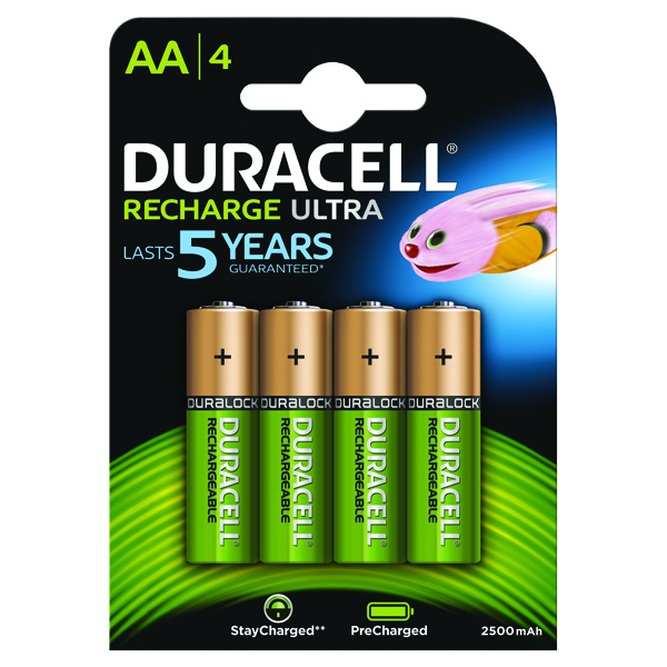 Duracell StayCharged Premium AA Rechargeable 2500mAh Batteries (Pack of 4) STAYCHARGED PREM