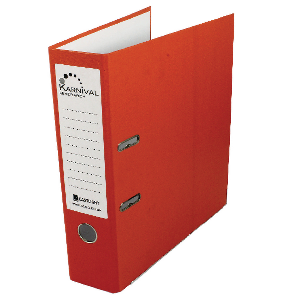 Rexel Karnival A4 Lever Arch File 70mm Orange (10 Pack) 20746EAST