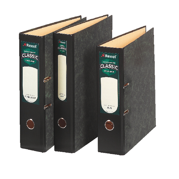 Rexel Classic Foolscap Lever Arch File Black/Green (Pack of 10) 26615EAST