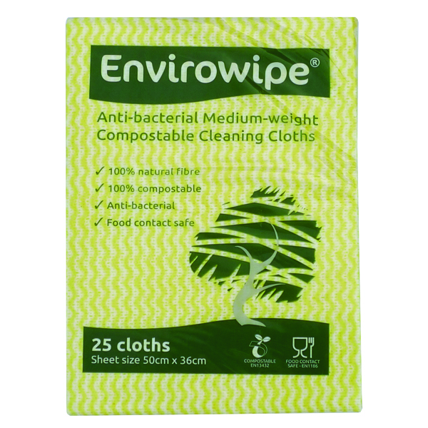 Envirowipe Antibacterial Red Cleaning Cloths (25 Pack) EWF151
