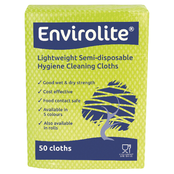 Envirolite 290x360mm Blue Lightweight All Purpose Cloths (50 Pack) ELF1000S