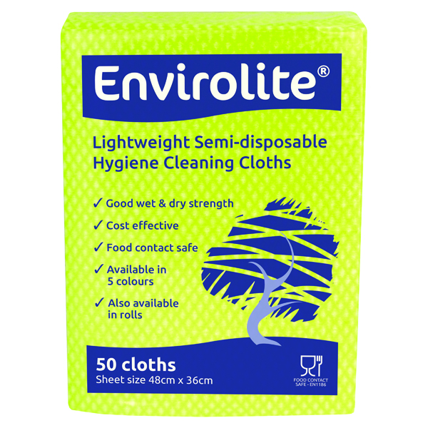 Envirolite 480x360mm Red Lightweight All Purpose Cloths (50 Pack) ELF500