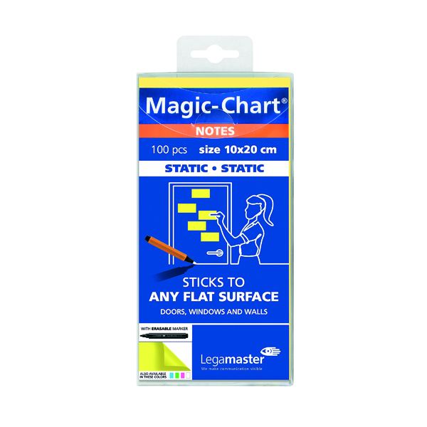 Legamaster Magic Chart Yellow Notes 100 x 200mm with Board Marker 7-159405