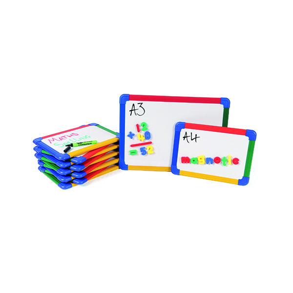 Show-Me A3 Rainbow Framed Magnetic Whiteboard (5 Pack) MBA3/5