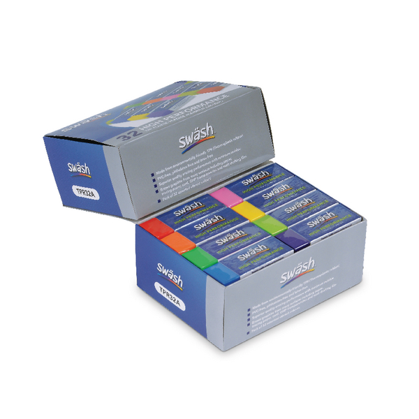 Swash Premium Pencil Erasers 8 Assorted Colours Pk32 TPR32A