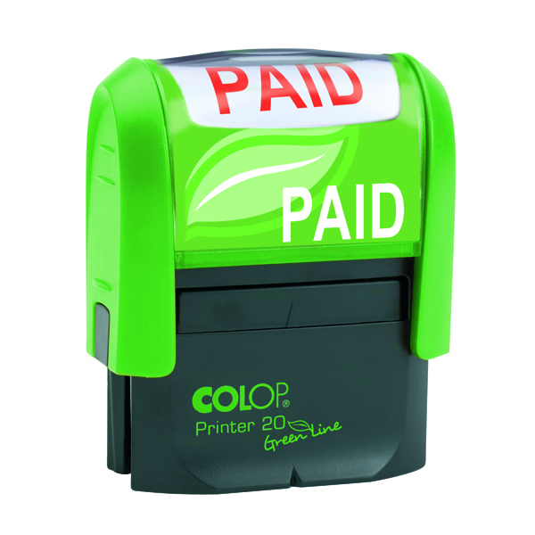 COLOP Green Line Word Stamp PAID Red GLP20PAID
